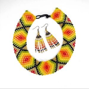 Handmade UNIQUE Colombian Beaded Necklace Wayuu
